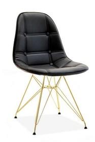 Krzesło MPC ROD TAP - czarna ekoskóra/złoty