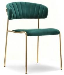 Krzesło gięte welurowe NILDA - zielony/złoty