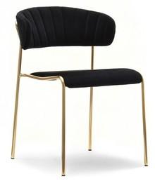 Krzesło gięte welurowe NILDA - czarny/złoty