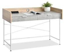 Duże biurko z szufladami HAGA - beton/dąb sonoma/biały