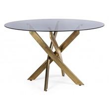 Stół okrągły GEORGE 120 - dymiony/złoty