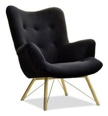 Fotel welurowy DALTON - czarny/złoty