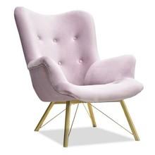 Fotel welurowy DALTON - liliowy/złoty