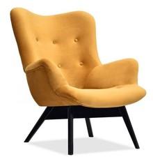 Fotel uszak welurowy FLORI - miodowy/czarny