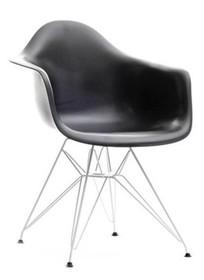 Krzesło z tworzywa MPA ROD - czarny/metal