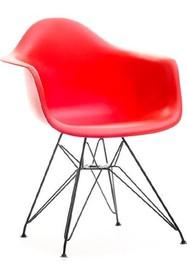 Krzesło z tworzywa MPA ROD - czerwony/metal
