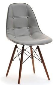 Krzesło pikowane z ekoskóry MPC WOOD TAP - szary/naturalny