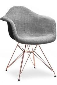 Krzesło tapicerowane MPA ROD TAP - szary glamour/miedź