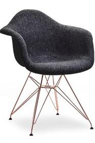 Krzesło tapicerowane MPA ROD TAP - czarny glamour/miedź
