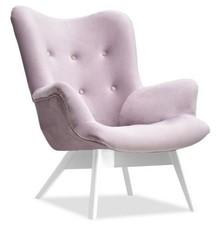 Fotel uszak welurowy FLORI - liliowy/biały