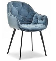 Krzesło welurowe SABA - niebieski