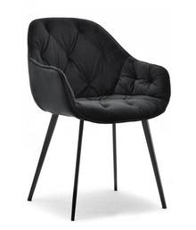 Krzesło welurowe SABA - czarny