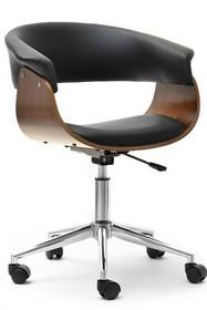 Fotel biurowy MANZA - czarny/orzech