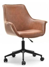 Fotel z ekoskóry OMAR - brązowy