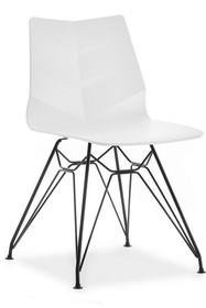 Krzesło na giętych nogach HOYA - biały mat/czarny