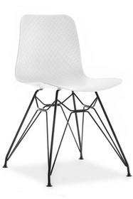 Krzesło z giętym stelażem CARO - biały mat/czarny