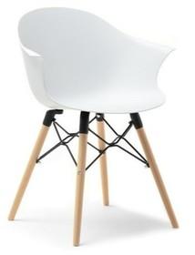 Krzesło kubełkowe CLOUD - biały mat/buk