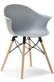 Krzesło kubełkowe CLOUD - szary mat/buk