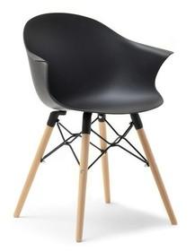 Krzesło kubełkowe CLOUD - czarny mat/buk
