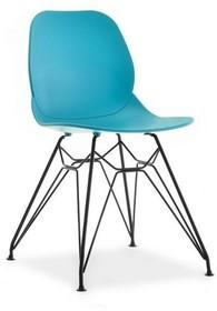 Krzesło z metalową podstawą LEAF - turkusowy mat/czarny