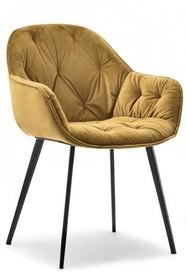 Krzesło welurowe SABA - żółty