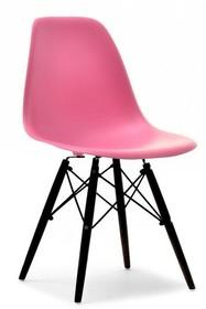 Krzesło z tworzywa MPC WOOD - różowy/czarny