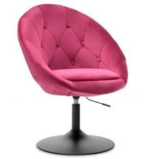 Fotel obrotowy velvet LOUNGE 3 - różowy/czarny