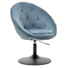 Fotel obrotowy velvet LOUNGE 3 - niebieski/czarny