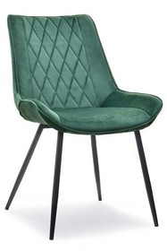 Krzesło welurowe ADEL - zielony/czarny