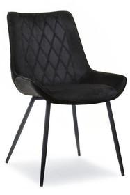 Krzesło welurowe ADEL - czarny