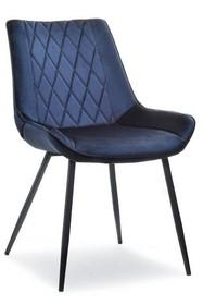 Krzesło welurowe ADEL - granatowy/czarny