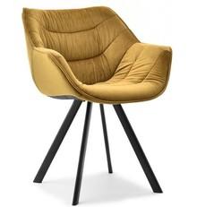 Krzesło welurowe NADIA - żółty/czarny