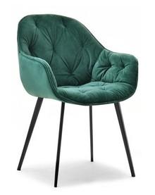 Krzesło welurowe SABA - zielony