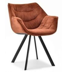 Krzesło welurowe NADIA - miedziany/czarny