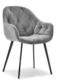 Krzesło welurowe SABA - szary
