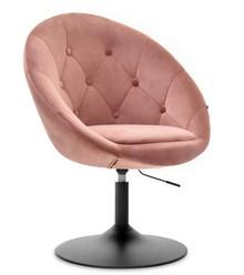 Fotel obrotowy velvet LOUNGE 3 - pudrowy/czarny