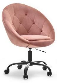 Fotel welurowy LOUNGE 4 - pudrowy/czarny