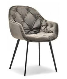 Krzesło welurowe SABA - platyna