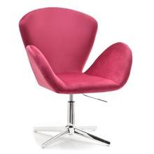 Fotel welurowy SWAN - różowy