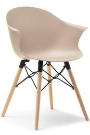 Krzesło kubełkowe CLOUD - beżowy mat/buk