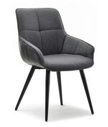 Krzesło z podłokietnikami REJA - szary/czarny