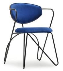 Krzesło na giętych nogach TALISA - granatowy/orzech