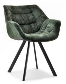 Krzesło welurowe NADIA - zielony/czarny