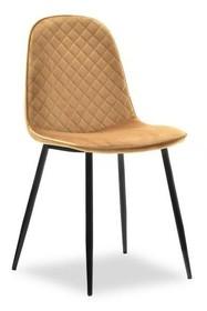 Krzesło pikowane SKAL - welur żółty