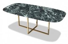 Stół owalny ROSSK - Verde Alpi/złoty