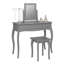 Toaletka BAROQUE z lustrem i stołkiem - szary mat