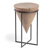 Stolik pomocniczy AYDJ z drewnianym blatem