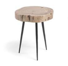 Stolik z drewnianym blatem SYROU H40 CM