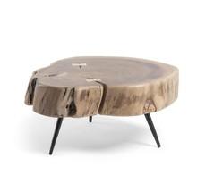 Stolik z drewnianym blatem SYROU H26 CM
