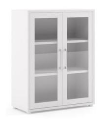 Regał niski z drzwiami szklanymi PRIMA - biały